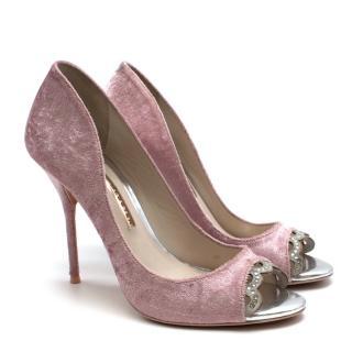 Sophia Webster Pink Velvet Peep Toe Pumps