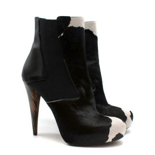 Fendi Pony Tail Cow Print Leather Ankle Heels
