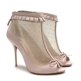 Sophia Webster Pink Leather & Tulle Heeled Ankle Boots