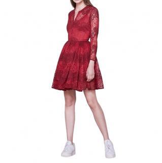 Maje Red Lace Rayela Dress