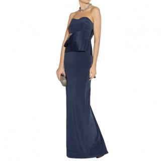 Marchesa Notte Navy Embellished Strapless Peplum Gown
