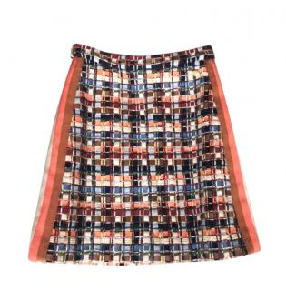 Chanel Paris/Hamburg Lesage Tweed Grosgrain Trim Skirt