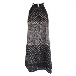 Zimmermann Black & White Halterneck Lattice Sun Dress