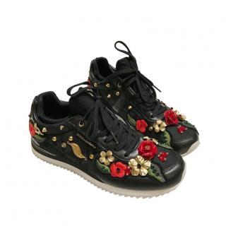 Dolce & Gabbana Floral Applique Black Sneakers