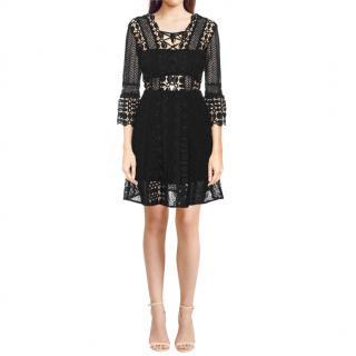 Self Portrait Black Giupere Lace A-Line Dress