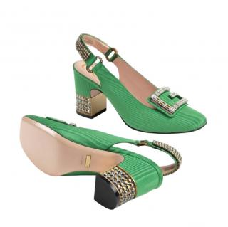 Gucci Moir� mid-heel pump with crystal G