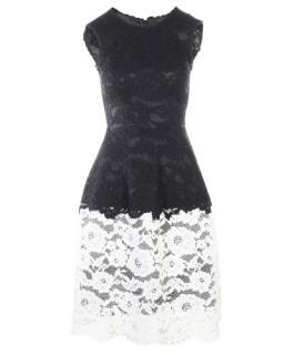 Carolina Herrera Black & White Lace Sleeveless Dress