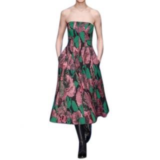 Erdem Geraldine Loren Rose Strapless Jacquard Dress