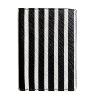 Smythson Black & White Striped Passport Cover