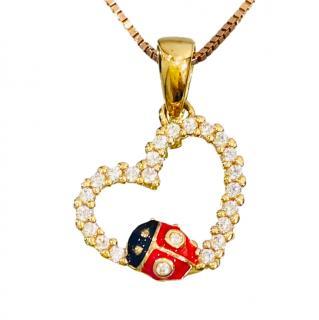 Fantin Jewels 18ct Yellow Gold Ladybug Diamond Heart Pendant