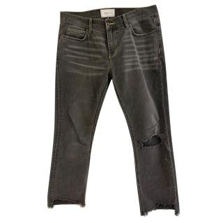 Current/Elliott Grey Distressed Cropped Jeans