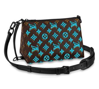 Louis Vuitton Monogram Tuffetage Turquoise Triangle Messenger
