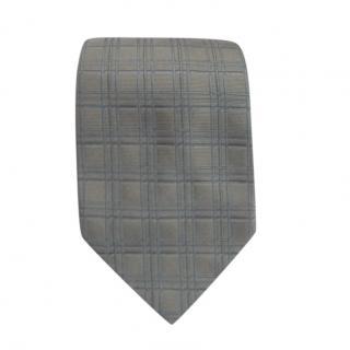 Hermes Grey & Blue Silk Printed Tie