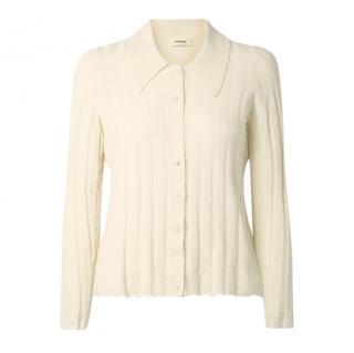 L'Agence Ivory Naya ribbed-knit cardigan