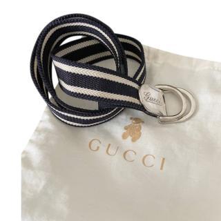 Gucci Blue & White Canvas Kids M/7Y Belt