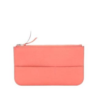 Hermes Coral Pink Leather Zip Coin Pouch