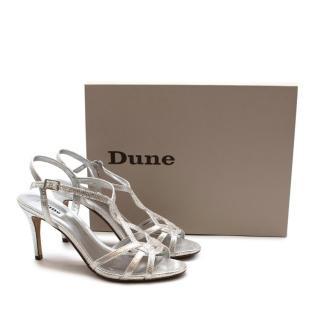 Dune Silver Metallic Heeled Sandals