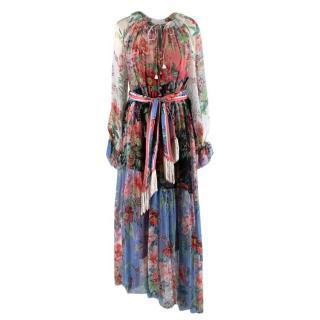 Zimmermann Pink & Blue Floral Ruffle Silk Dress