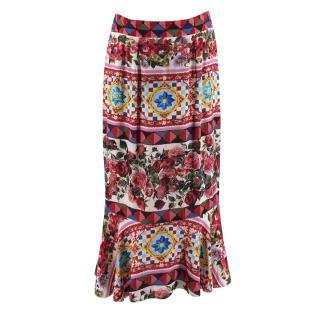 Dolce & Gabbana Silk Mambo Print Flounce Skirt