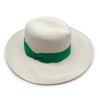 Borsalino Ivory Green Ribbon Straw Hat