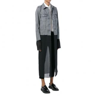 MM6 Maison Margiela Chiffon Layered Grey Denim Jacket