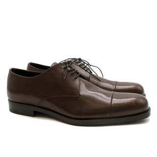Prada Brown Leather Lace-up Shoes