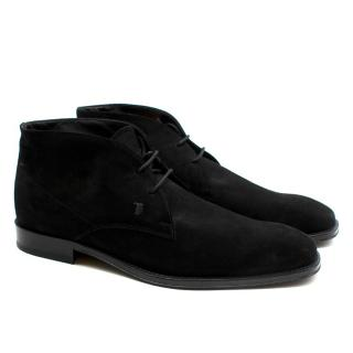Tods Black Suede Lace-up Boots