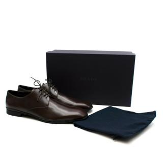 Prada Polished Dark Brown Leather Lace up Shoes