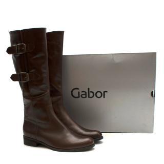Gabor Nappa Jamaika Dark Brown Long Heel Boots