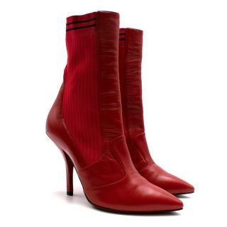 Fendi Red Leather Heeled Ankle Boots