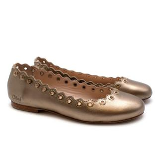 Chloe Gold Leather Ballerina Flats