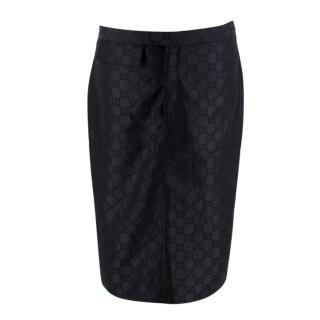 Gucci Black GG Monogram Vintage Pencil Skirt