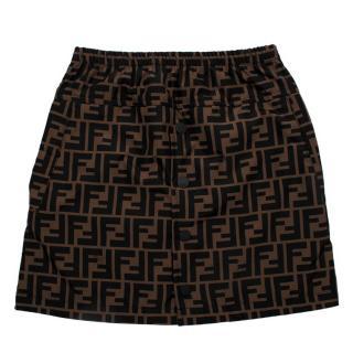 Fendi Brown & Black FF Monogram Nylon Skirt
