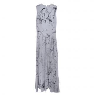 Alexander McQueen Blue Sleeveless Printed Silk Dress