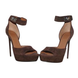 Givenchy Brown Suede Shark Lock Platform Sandals