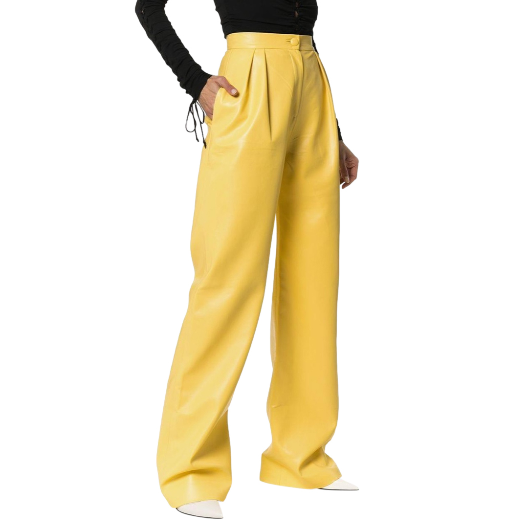 Materiel Yellow Faux Leather High Waist Pants