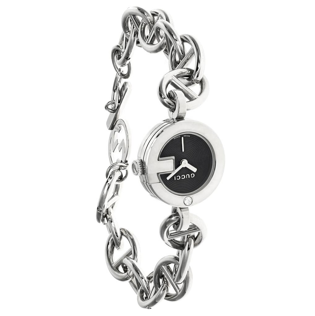 GUCCI G S-Steel Black Dial Diamond Bezel Bracelet Watch 107L