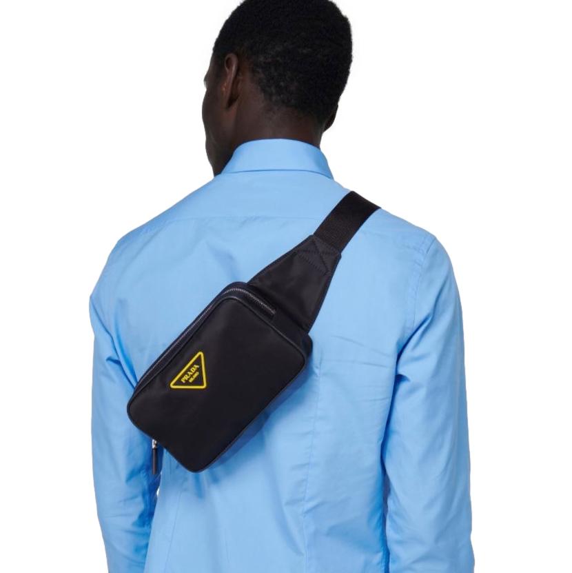 Prada Black Leather Trim Nylon Logo Applique Belt Bag
