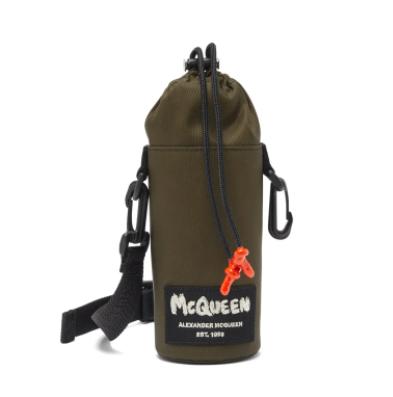 Alexander McQueen Graffiti-logo canvas bottle pouch