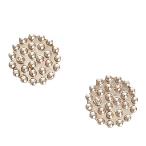 Chanel Vintage Textured Round Clip-On Earrings