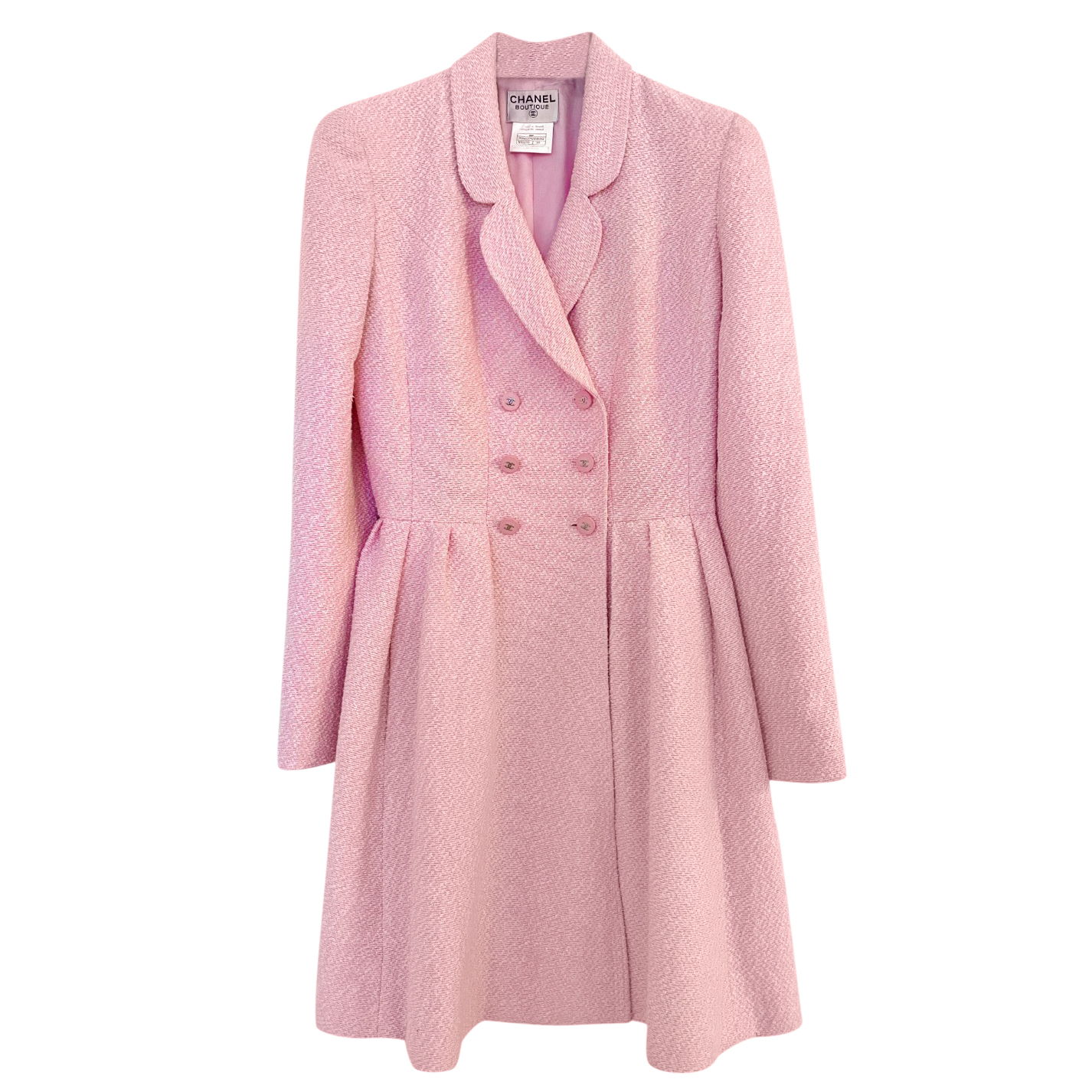 Chanel Pale Pink Vintage Double Breasted Longline Jacket