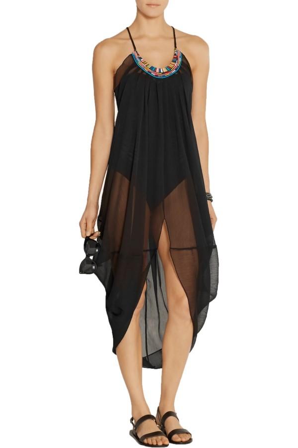 Mara Hoffman Black Embroidered Georgette Beach Dress