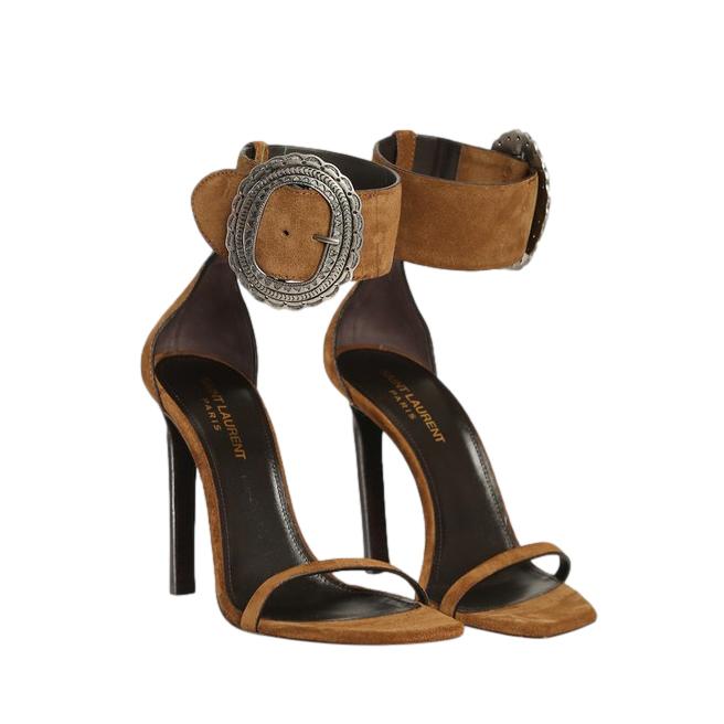 Saint Laurent Brown Joplin Suede Sandals