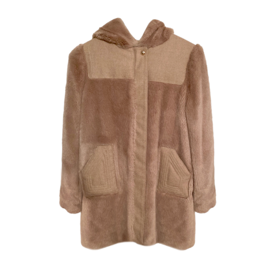 Chloe Kids Wool Faux Fur Hooded Jacket