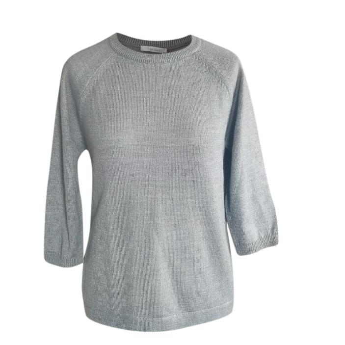 Max Mara Grey Virgin Wool & Cashmere Knit Top