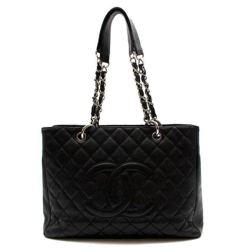 Chanel Black Caviar Leather CC Shopping Tote