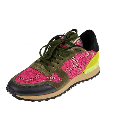 Valentino Pink Lace and Suede Rockstud Rockrunner Sneakers