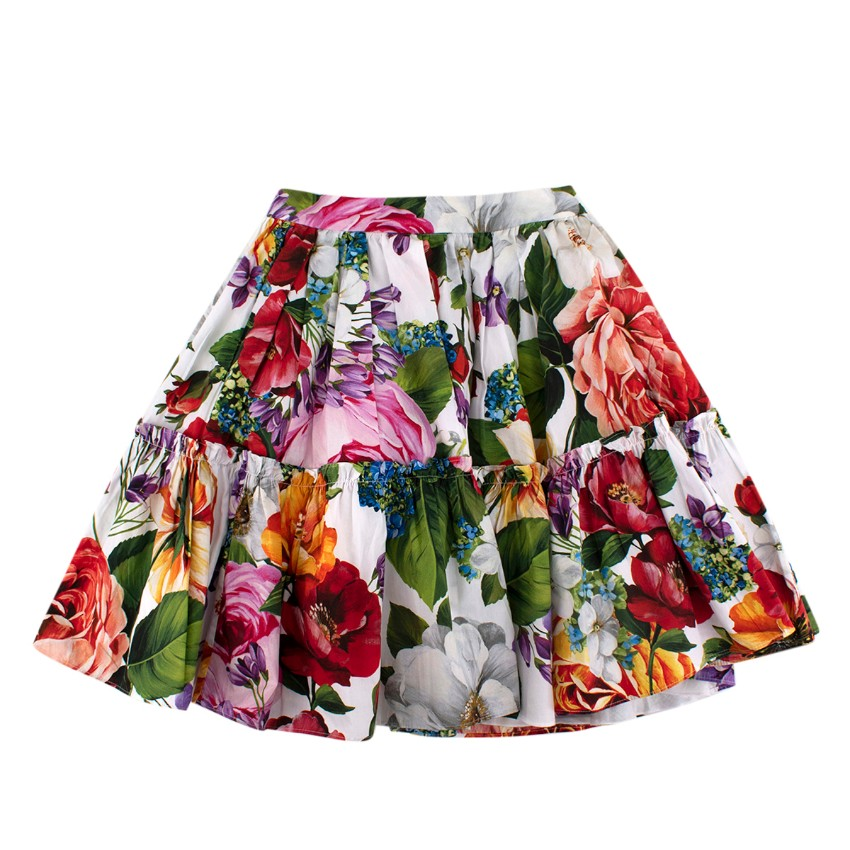 Dolce & Gabbana White Floral Cotton Skirt