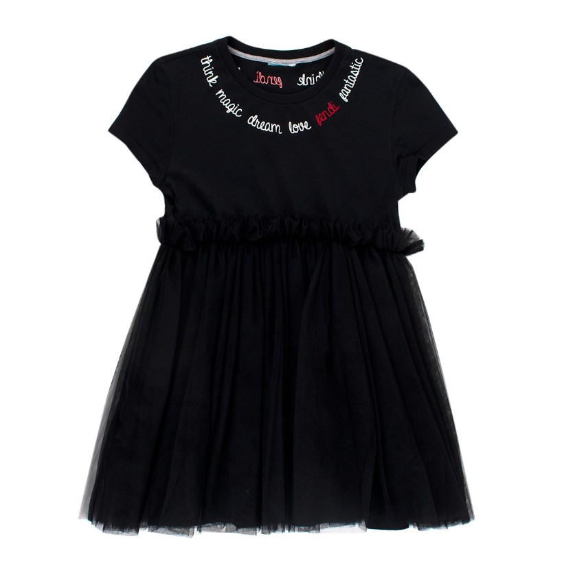 Fendi Kids Black Embroidered Cotton & Tulle Dress