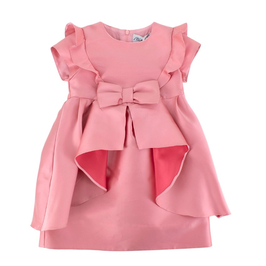 Simonetta Pink Ruffled with a Bow Dress